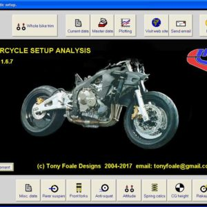 Motorcycle setup main page.