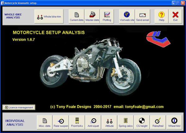 Motorcycle setup main page.